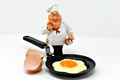 シェフと卵の画像